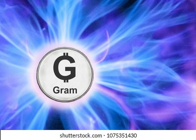 birth or fork of ton cryptocurrency. coin gram background real cold plasma.