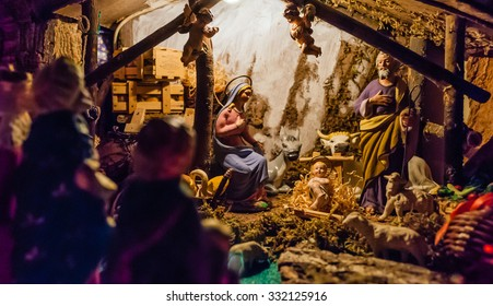 "Birth of Jesus in the manger in a typical italian ""Presepe"""
