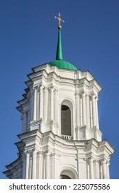Birth of Virgin Mary Cathedral in Kozelets was built in 1752-1763 by architects Ivan Hryhorovych Barsky and Andriy Kvasov by order of Countess Natalia Razumovska. Chernigov region, Ukraine. Bell tower