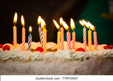 Birthdate cake with burning candles
