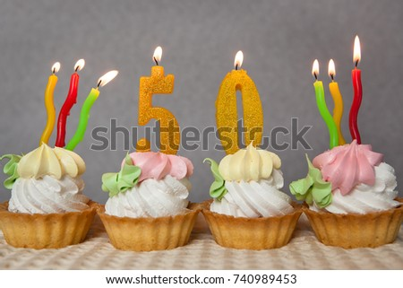 Birthday Anniversary 50 Years With Cakes And Golden Candles