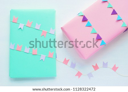 Birthday Baby Shower Gift Wrapping Idea Stock Photo Edit Now