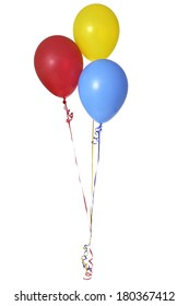 Birthday balloons on white background