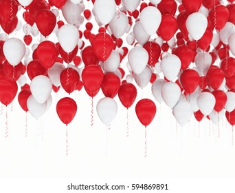 Birthday balloons red and white isolated. 3D render illustration