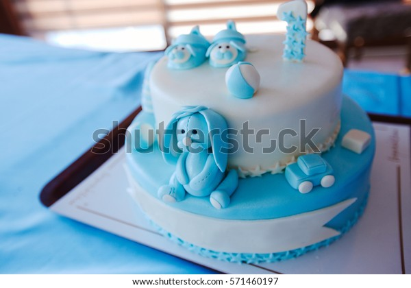 Enjoyable Birthday Cake 1 Year Old Boy Stock Photo Edit Now 571460197 Personalised Birthday Cards Veneteletsinfo