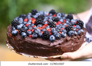 birthday cake for 17 year old girl made with chocolate and peanut butter with blueberry brumble strawberry topping close up photo with burning candle figures