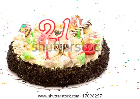 Birthday Cake For 21 Years Jubilee On White Background With Glitter