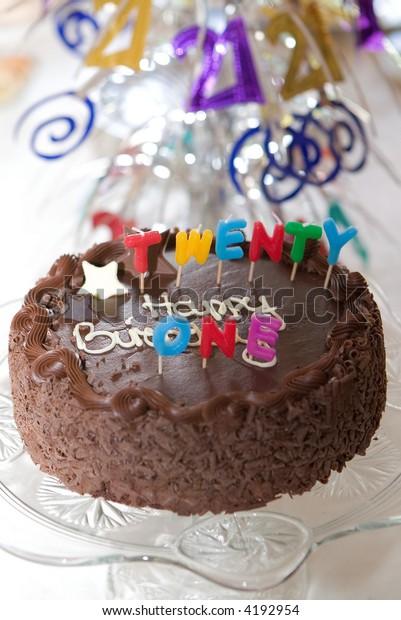 Fine Birthday Cake 21St Birthday Party Table Stock Photo Edit Now 4192954 Funny Birthday Cards Online Chimdamsfinfo