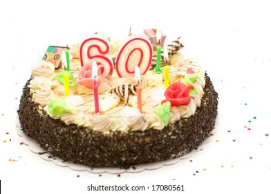 birthday cake for 60 years jubilee on white background with glitter - Gateau Anniversaire 60 Ans