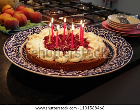 Birthday Cake 7 Candles Yummie Fruit And Whipped Cream Home Made