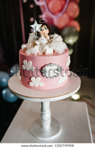 Brilliant Birthday Cake Angel On Background Balloons Stock Photo Edit Now Personalised Birthday Cards Epsylily Jamesorg