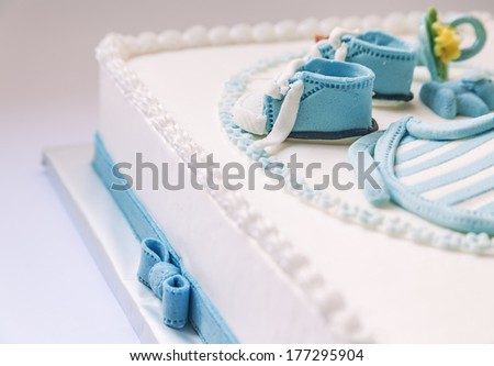 Birthday Cake Baby Blue White Design Stock Photo Edit Now