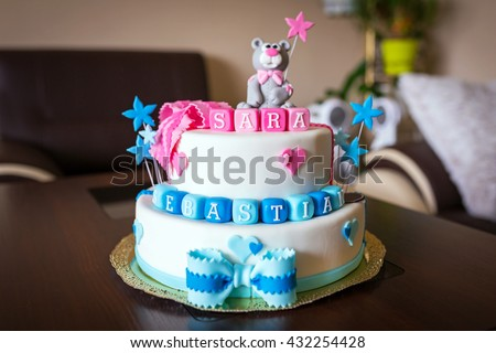 Birthday Cake Baby Boy Girl Twins Stock Photo Edit Now 432254428