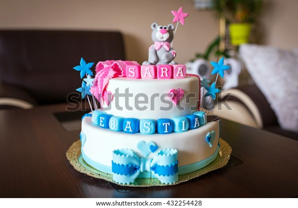 Sensational Birthday Cake Baby Boy Girl Twins Stock Photo Edit Now 432254428 Birthday Cards Printable Trancafe Filternl