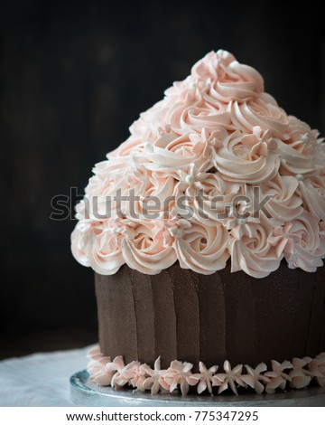 Birthday Cake Beautiful Giant Cupcake With Roses Cream Decoration On Rustic Wooden Table