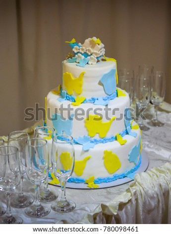 Birthday Cake With Blue And Yellow Butterflies