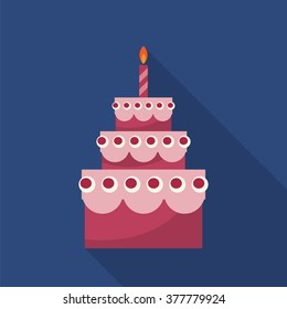 Birthday cake with candle  with long shadow. Simple flat bitmap illustration.