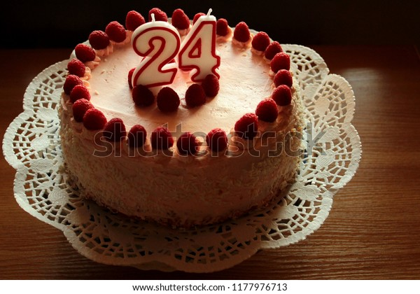 Awesome Birthday Cake Candle Number 24 Stock Photo Edit Now 1177976713 Personalised Birthday Cards Veneteletsinfo
