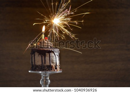 Birthday Cake With Candle And Sparkler