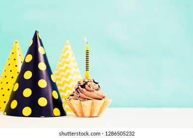 Birthday cake with candle in vintage color