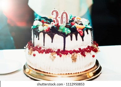 Birthday Cake With Candles For 30 Years