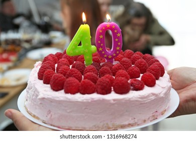 Birthday Cake With Candles For 40th