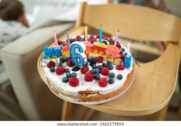 Marvelous Birthday Cake Candles 6 Years Old Stock Photo Edit Now 1462179854 Personalised Birthday Cards Vishlily Jamesorg