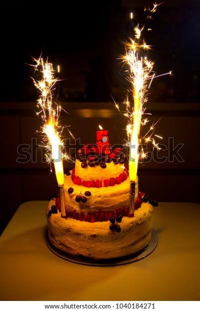 Enjoyable Birthday Cake Candles Fireworks Birthday 5 Stock Photo Edit Now Funny Birthday Cards Online Bapapcheapnameinfo