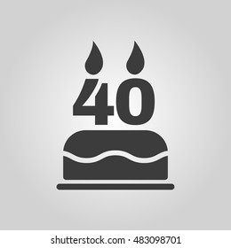 The birthday cake with candles in the form of number 40 icon. Birthday symbol. Flat  illustration