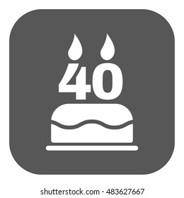 The birthday cake with candles in the form of number 40 icon. Birthday symbol. Flat  illustration. Button