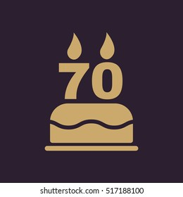 The birthday cake with candles in the form of number 70 icon. Birthday symbol. Flat  illustration