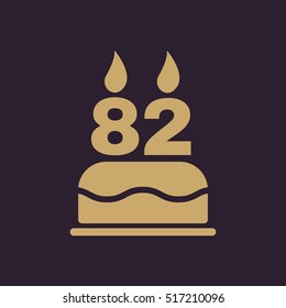 The birthday cake with candles in the form of number 82 icon. Birthday symbol. Flat  illustration