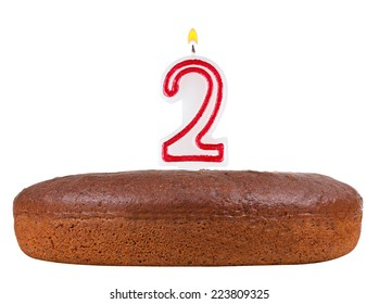 Birthday Cake With Candles Number 2 Isolated On White Background