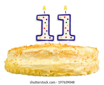 birthday cake with candles number eleven isolated on white background