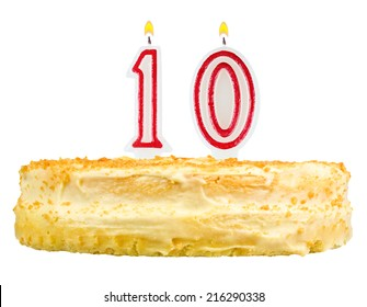 birthday cake with candles number ten isolated on white background