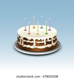 Birthday Cake with Candles Numerals Flame Fire Light. Isolated on Background. Realistic Illustration
