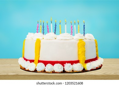 Birthday cake with candles on  background