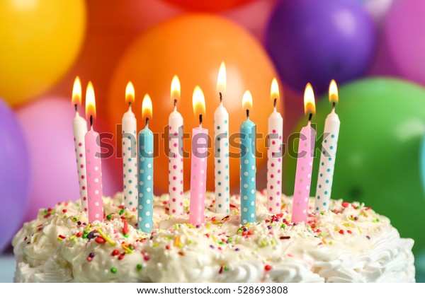Terrific Birthday Cake Candles On Balloons Background Stock Photo Edit Now Personalised Birthday Cards Veneteletsinfo