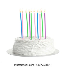 Birthday cake with candles on white background