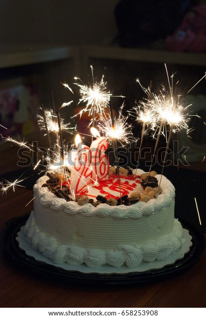 Excellent Birthday Cake Candles Sparklers Stock Photo Edit Now 658253908 Funny Birthday Cards Online Alyptdamsfinfo