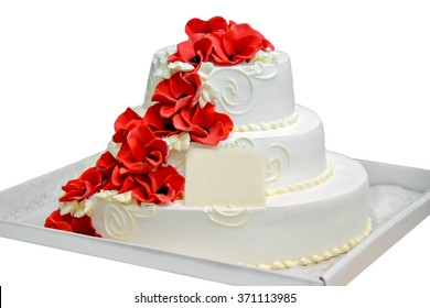 A birthday cake with a card for writing of the text. White cream cake in a cardboard box. Cake on isolated background. Festive surprise. Sweet dessert for birthdays. Tiered buttercream cake.