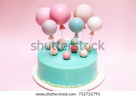 Birthday Cake Chocolate Balls And Balloons Decor Pink Background