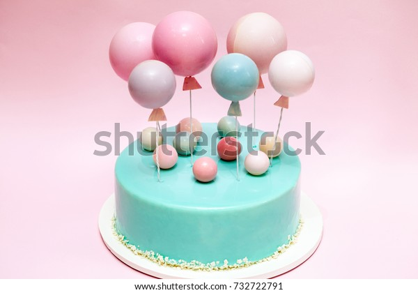 Magnificent Birthday Cake Chocolate Balls Balloons Decor Stock Photo Edit Now Personalised Birthday Cards Veneteletsinfo