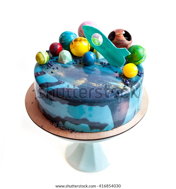 Awesome Birthday Cake Chocolate Planets Rocket Decor Stock Photo Edit Now Funny Birthday Cards Online Alyptdamsfinfo