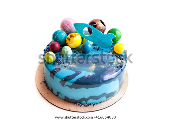 Incredible Birthday Cake Chocolate Planets Rocket Decor Stock Photo Edit Now Funny Birthday Cards Online Alyptdamsfinfo