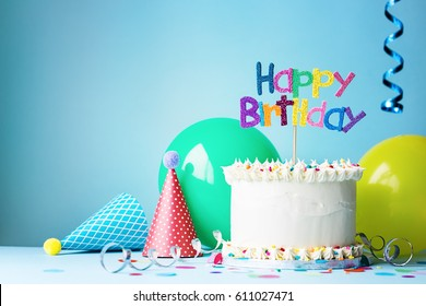 Birthday cake with colorful greeting