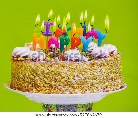 Birthday Cake With Colorful Happy Candles