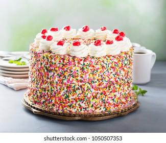 Birthday cake covered in colorful sprinkles with whipped cream and cherries