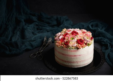 Birthday cake with cream. Beautiful cream roses.