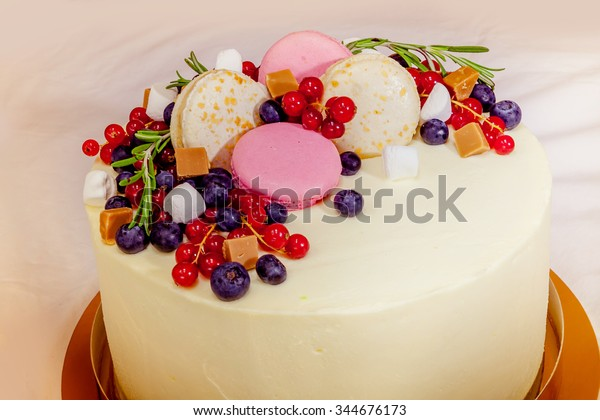Wondrous Birthday Cake Cream Fresh Fruit Berries Stock Photo Edit Now Personalised Birthday Cards Veneteletsinfo